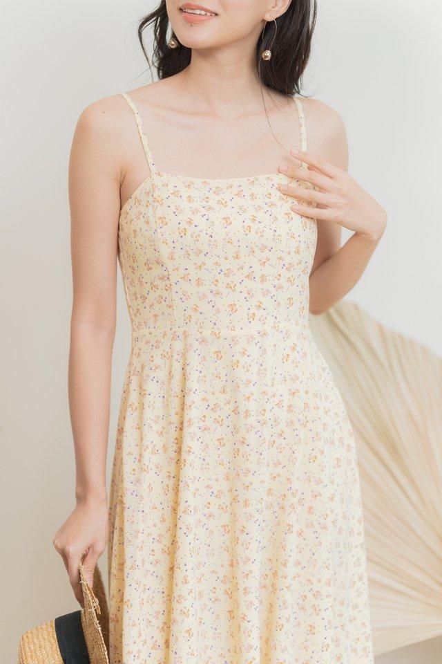 Clarissa Floral Flare Midi Dress in Daffodil Yellow