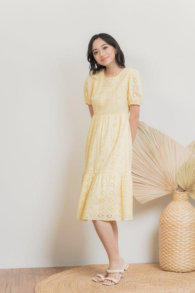 Eliza Eyelet Midi Dress in Daffodil Yellow
