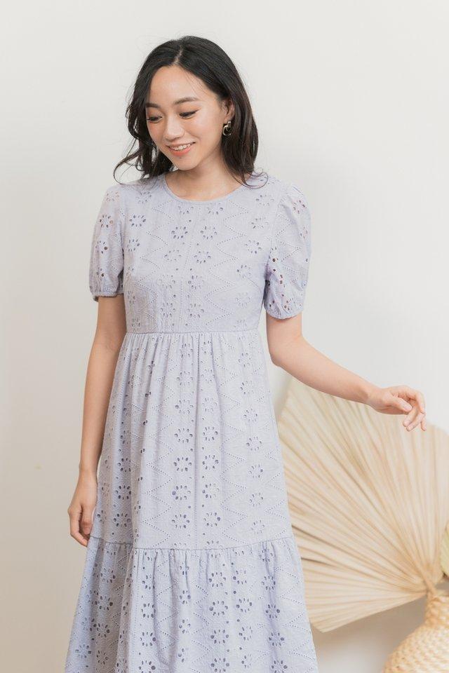 Eliza Eyelet Midi Dress in Lavender Grey