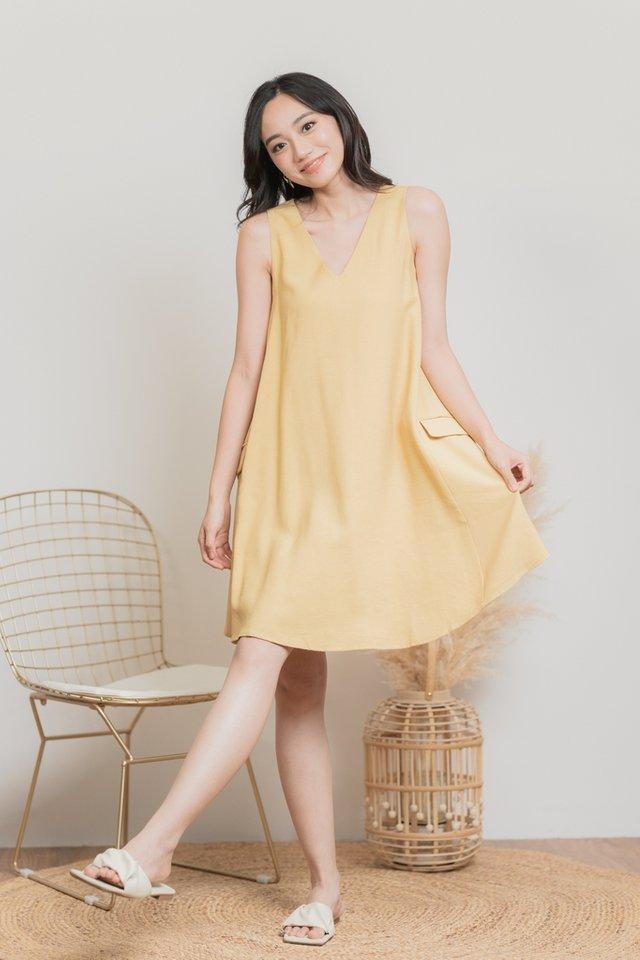 Evelyn Pocket Flare Dress in Light Mustard