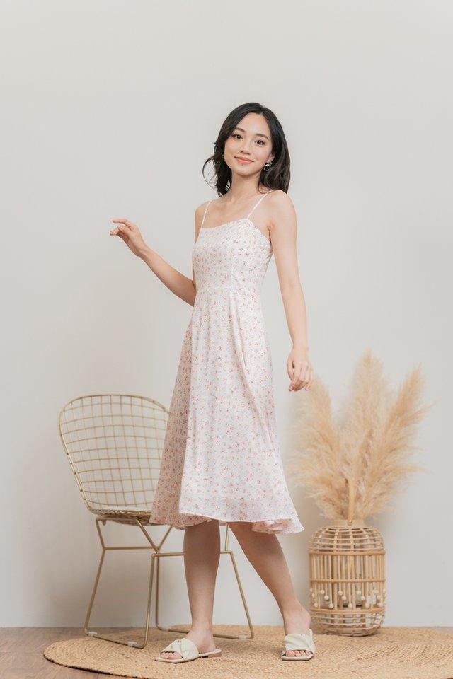 Clarissa Floral Flare Midi Dress in White