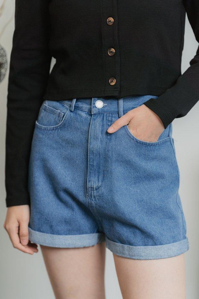 Evangeline Denim Shorts in Mid Wash