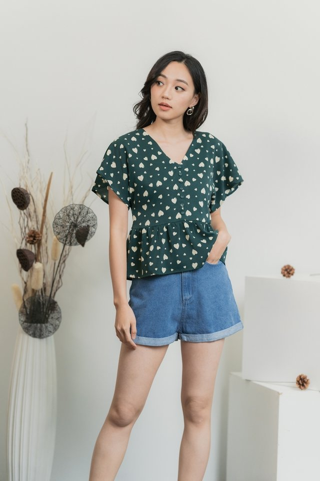 Candice Heart Shaped Button Top in Forest