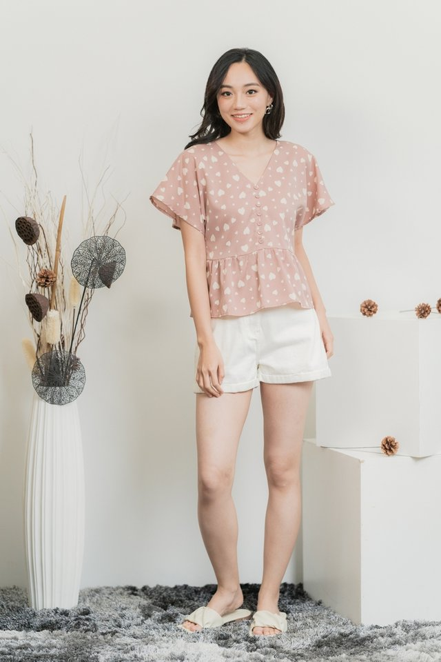 Candice Heart Shaped Button Top in Blush Pink
