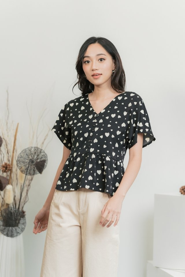 Candice Heart Shaped Button Top in Black