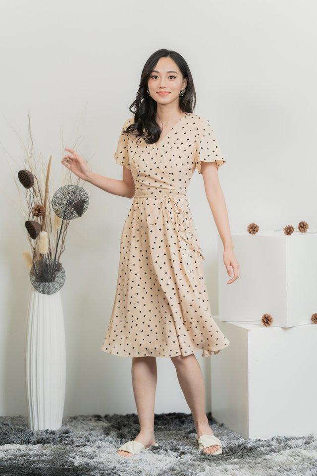 Stella Geometric Faux Wrap Midi Dress in Cream