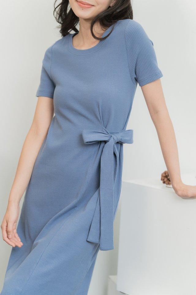 Alcie Side Ribbon Ribbed Midi Dress in Steel Blue
