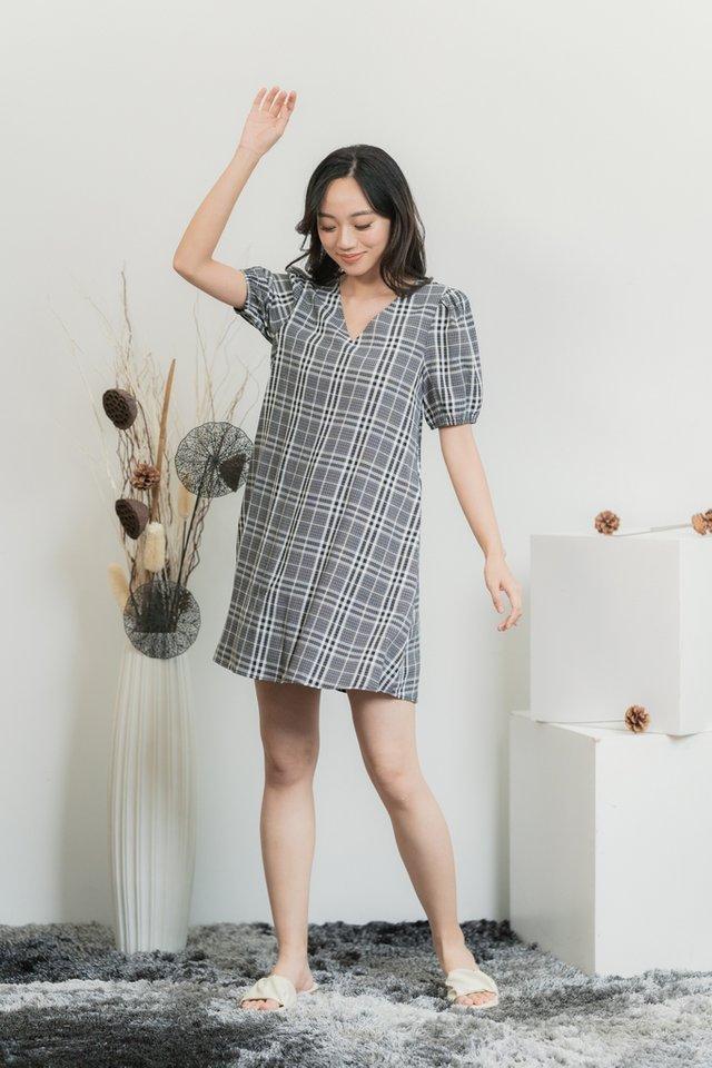 Katrine Checkered V-Neckline Dress in Black