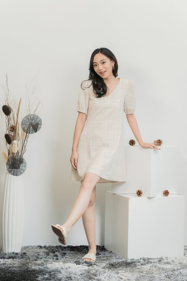 Katrine Checkered V-Neckline Dress in Cream