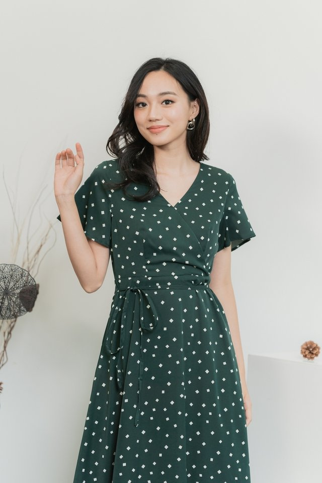 Stella Geometric Faux Wrap Midi Dress in Forest