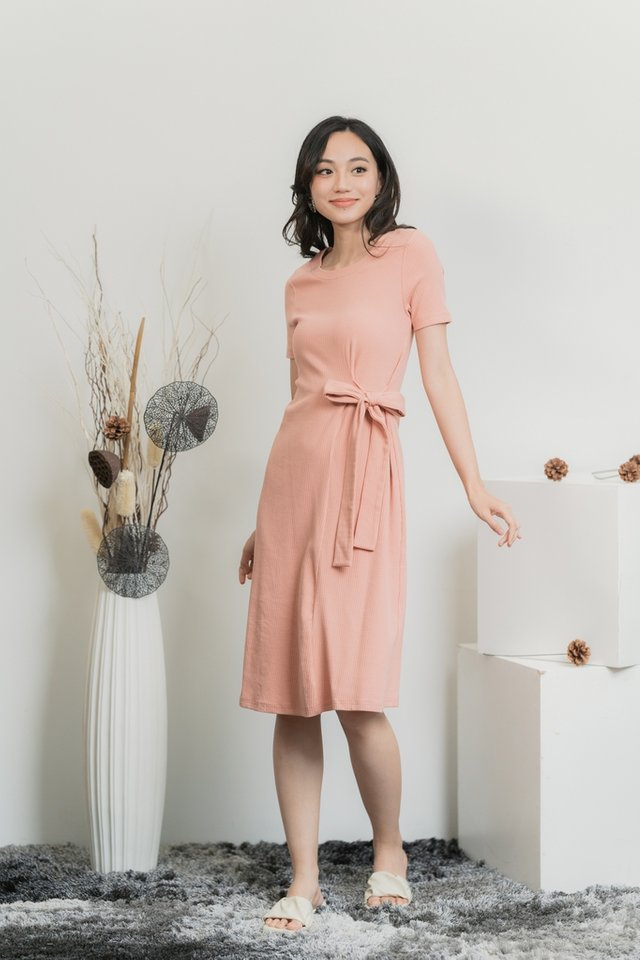 Alcie Side Ribbon Ribbed Midi Dress in Dusty Rose Pink