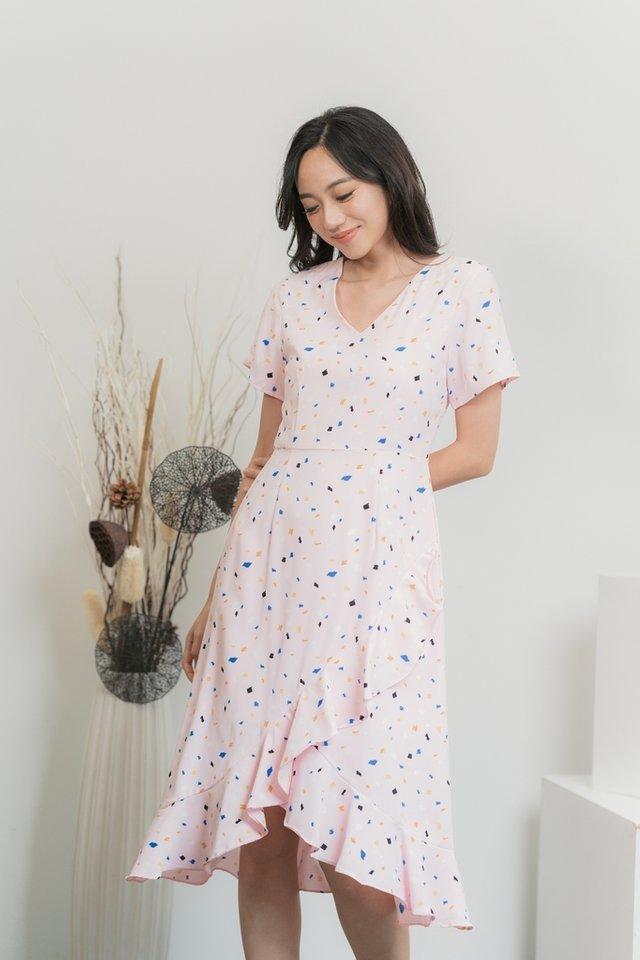 Torri Abstract Ruffles Midi Dress in Pink