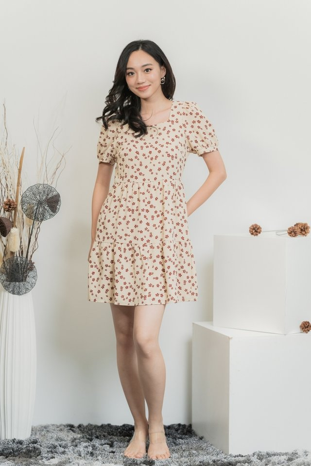 Joan Floral Tiered Babydoll Dress in Cream