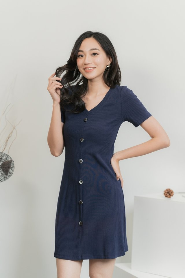 Tayla Button Ribbed Dress in Navy