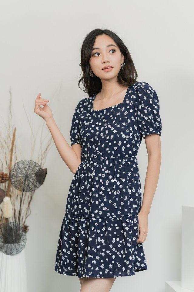 Joan Floral Tiered Babydoll Dress in Navy