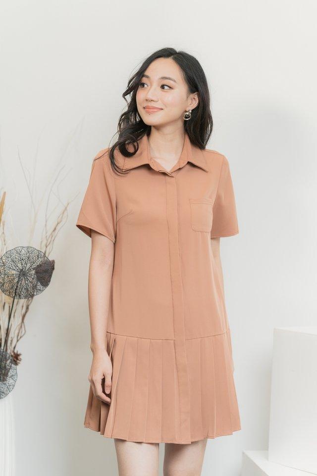 Shauna Pleated Shirt Dress in Caramel
