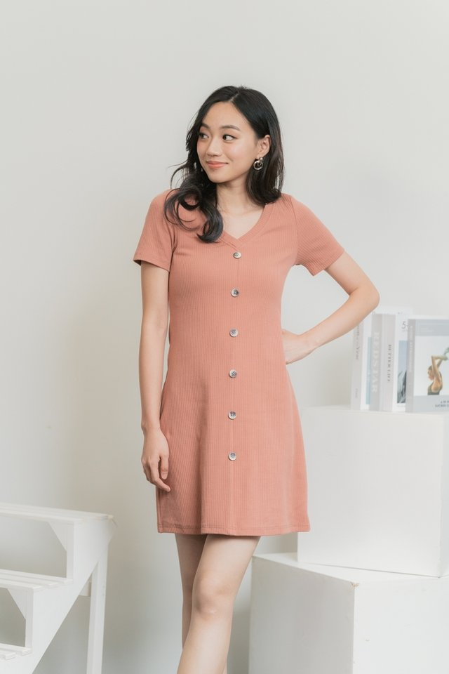 Tayla Button Ribbed Dress in Rosewood