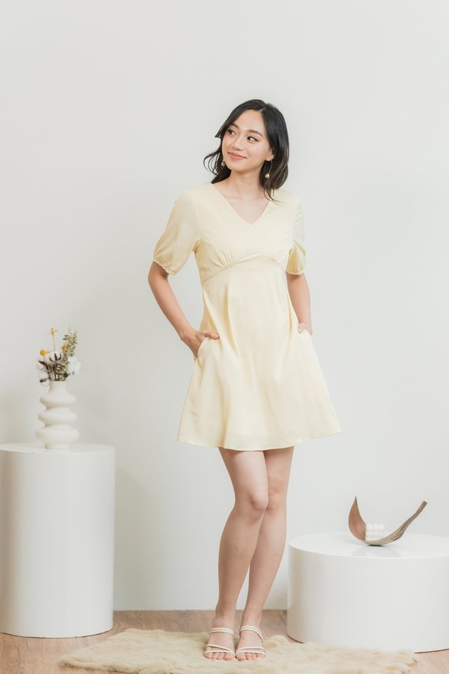 Natalie Empire Dress in Daffodil Yellow