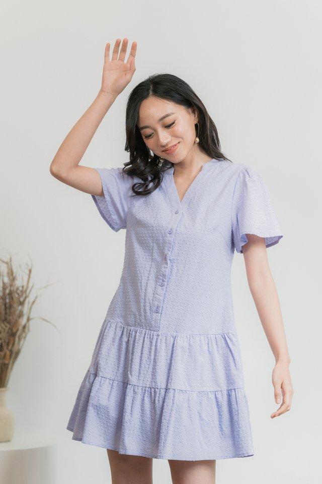 Nikita Swiss Dot Button Dress in Lilac