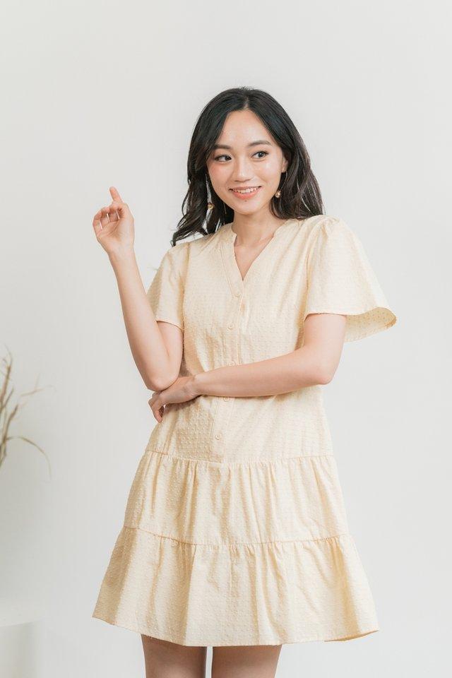 Nikita Swiss Dot Button Dress in Cream