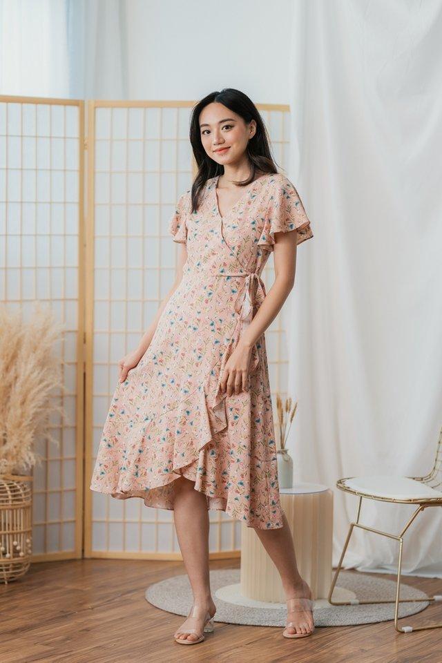 Yena Floral Ruffles Midi Dress in Blush Pink