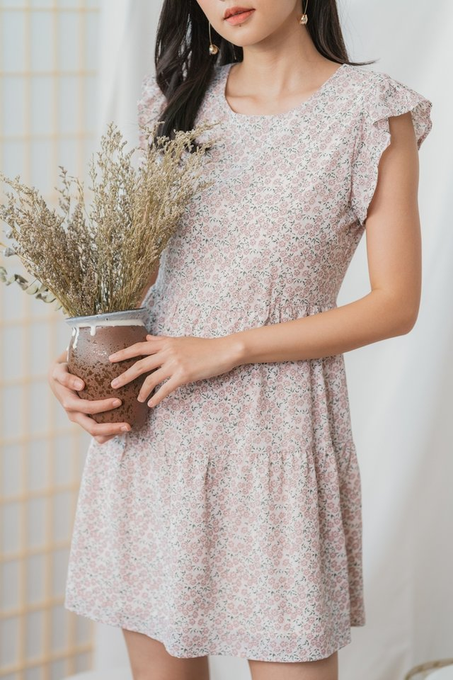 Inaya Floral Ruffles Tiered Dress in Pink