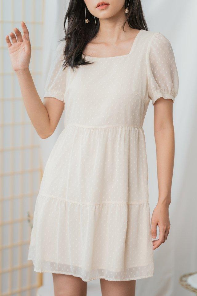 Kalia Swiss Dot Babydoll Dress in Cream