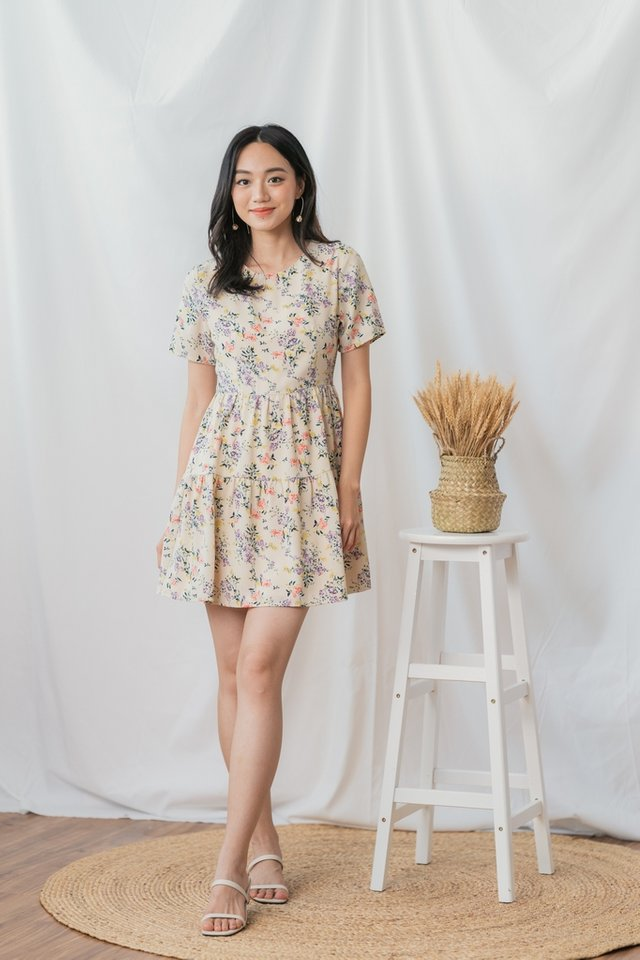 Julia Floral Tiered Babydoll Dress in Cream