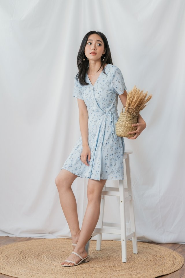 Elayna Floral Faux Wrap Dress in Blue Floral
