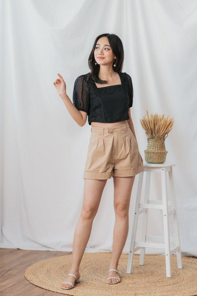 Addie High Waisted Shorts in Mocha