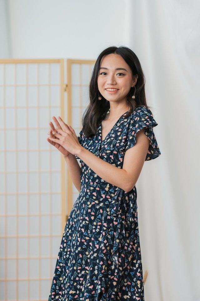 Yena Floral Ruffles Midi Dress in Navy