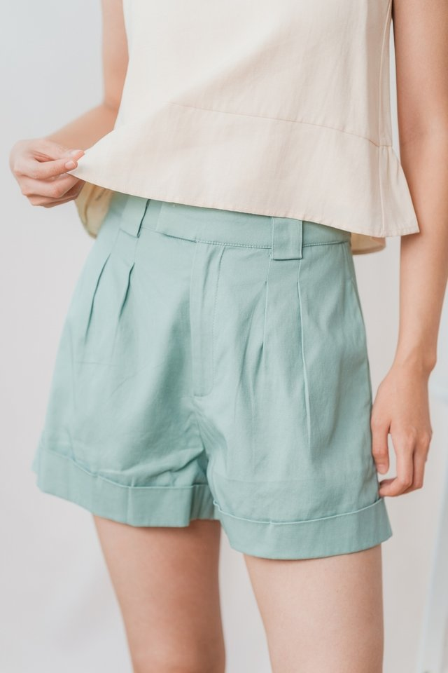 Addie High Waisted Shorts in Sea Green