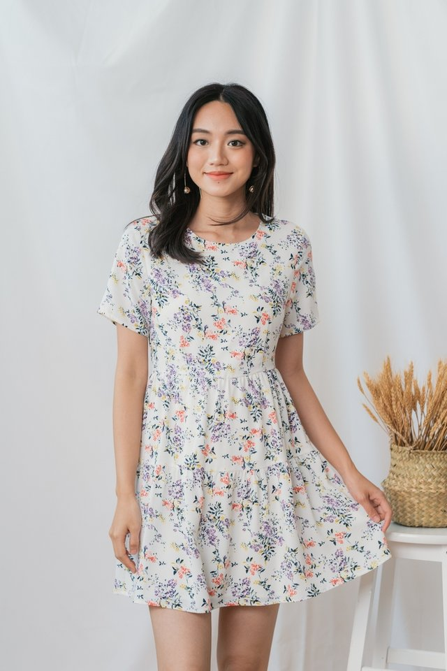 Julia Floral Tiered Babydoll Dress in White