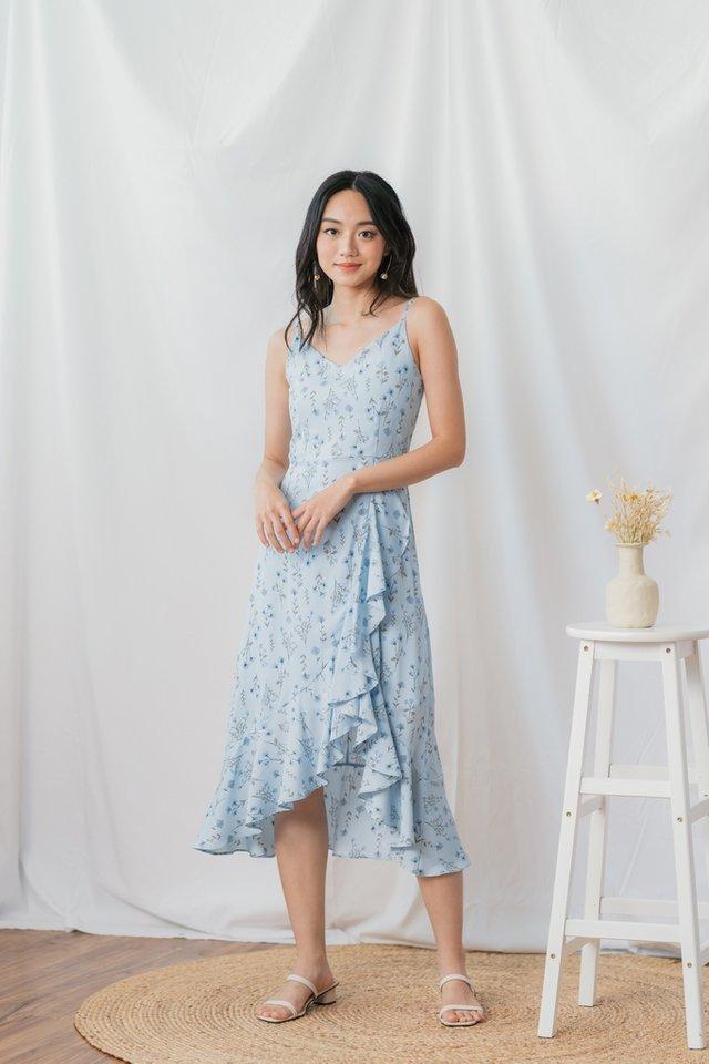 Eryn Floral Ruffled Hem Midi Dress in Blue Floral