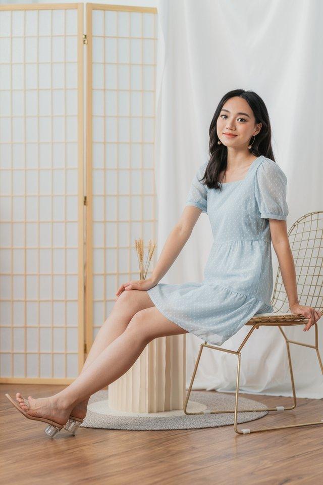 Kalia Swiss Dot Babydoll Dress in Soft Mint Blue