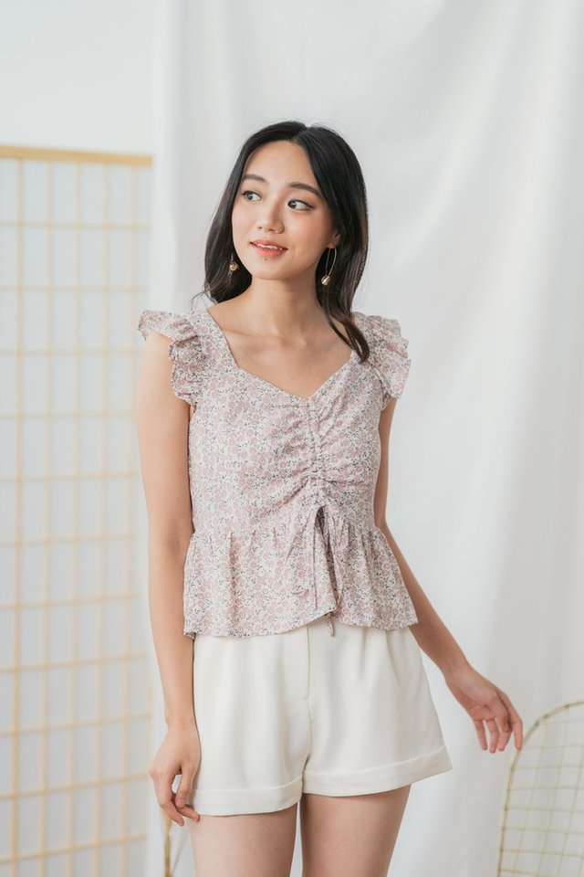 Adaly Floral Ruched Ruffles Top in Pink