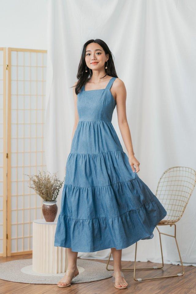 Aubrey Tiered Denim Maxi Dress in Mid Wash