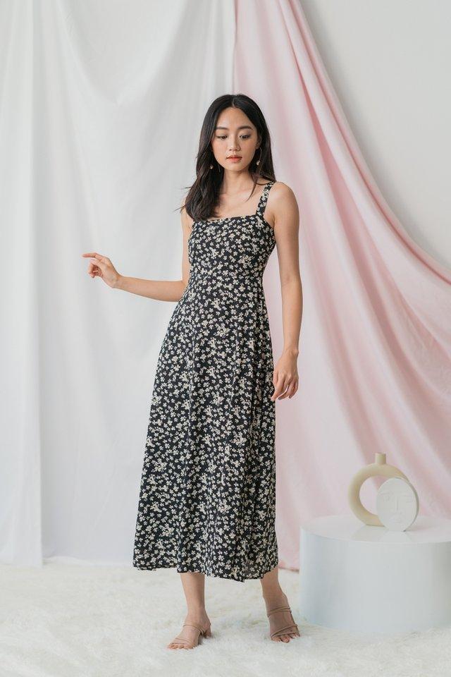 Ivette Floral Maxi Dress in Black