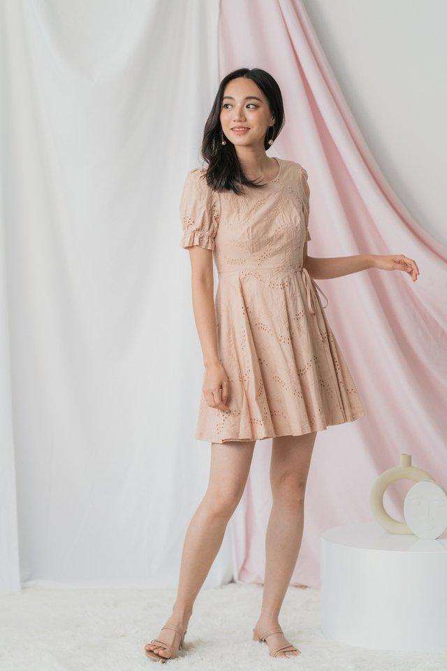 Callie Eyelet Ribbon Dress in Rouge Blush