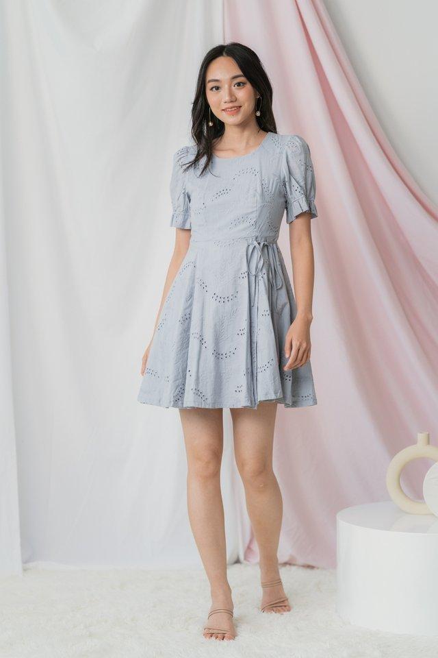 Callie Eyelet Ribbon Dress in Bluish Grey