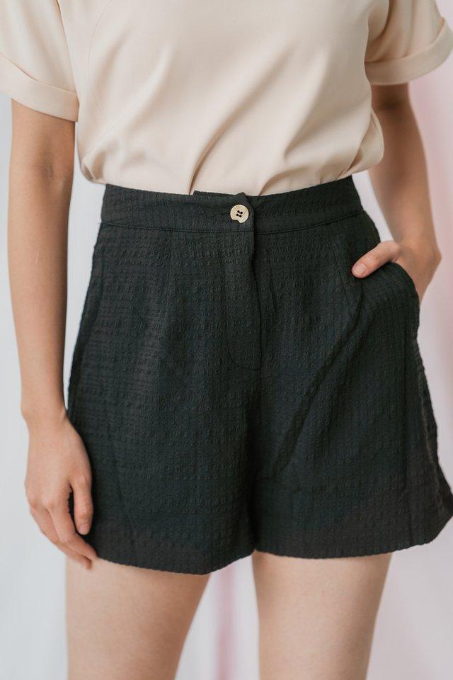 Alessi Textured Pocket Shorts in Black