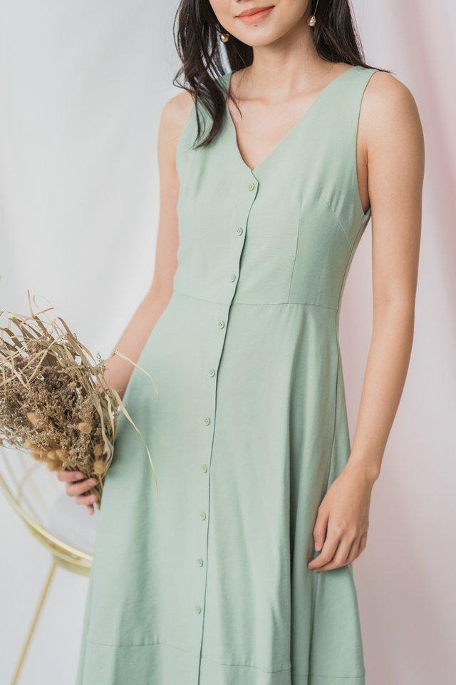 Gwyn Button Midi Dress in Sage