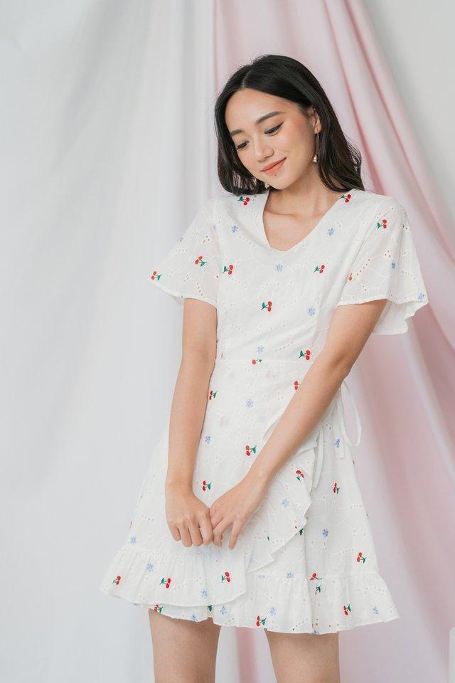 Yara Cherry Eyelet Signature Ruffles Dress in White