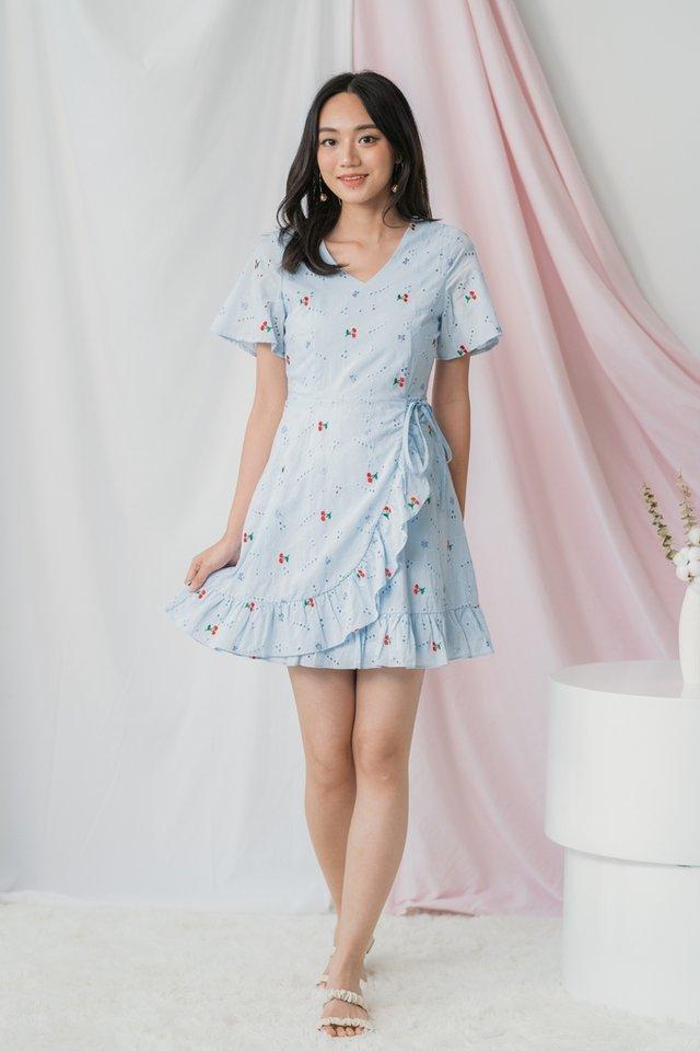 Yara Cherry Eyelet Signature Ruffles Dress in Baby Blue