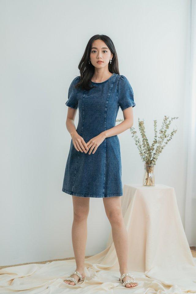 Luciana Denim Panel Dress in Mid Wash