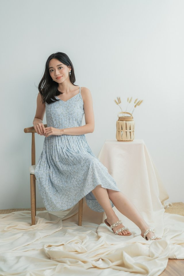 Eloise Floral Pleats Midi Dress in Baby Blue