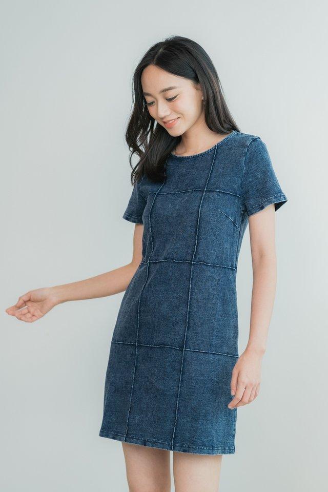 Milani Embossed Denim Shift Dress in Dark Wash