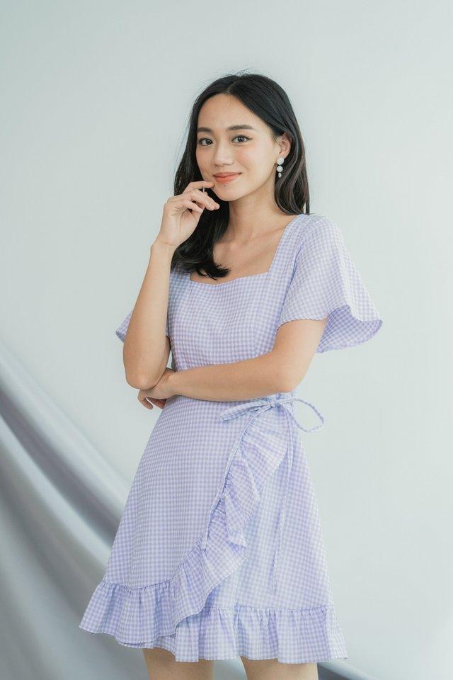 Demi Gingham Signature Ruffles Dress in Purple